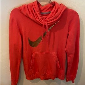 Coral Nike cowl neck sweatshirt